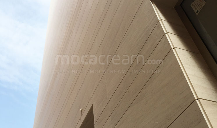 Beige limestone cladding in the Gulf region