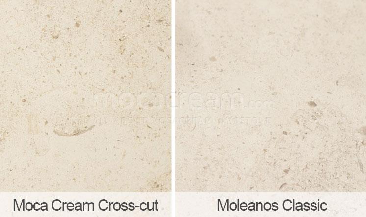 Moca Cream cross-cut vs Moleanos - comparison